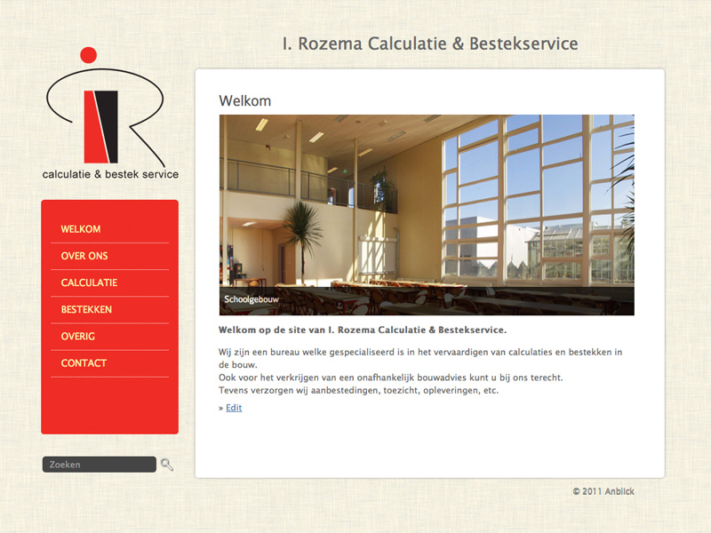 Website: I. Rozema Calculatie & Bestek Service